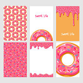 Set of donuts with pink glaze
