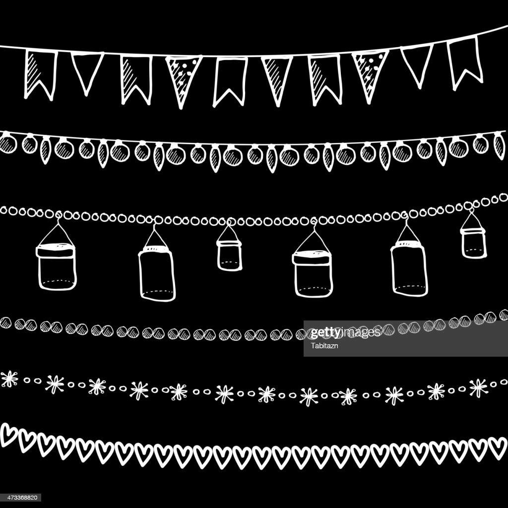 Set of doodle chalk garlands, isolated vector borders on blackboard