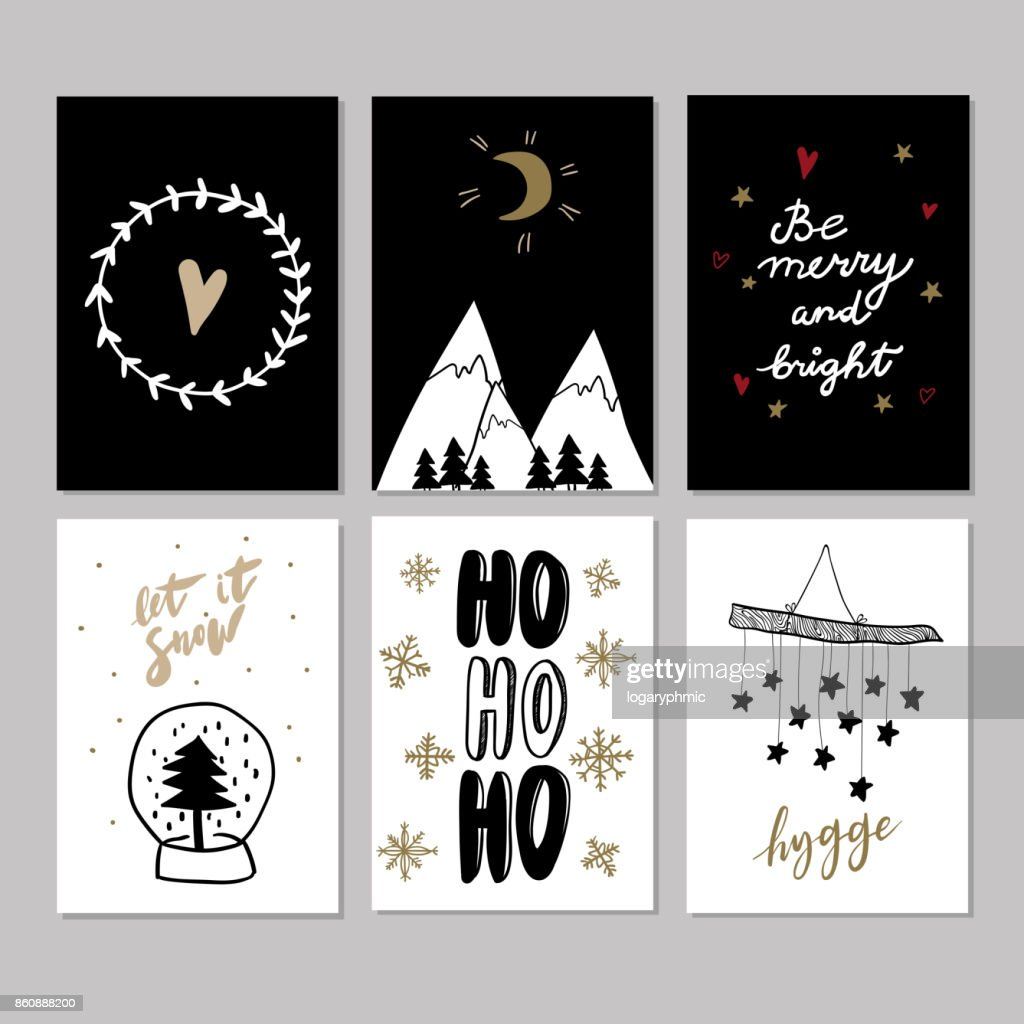 Set of doodle christmas greeting cards vector hand drawn cute icons set of doodle christmas greeting cards vector hand drawn cute icons scandinavian style xmas tree mountains garland snow globe and lettering m4hsunfo