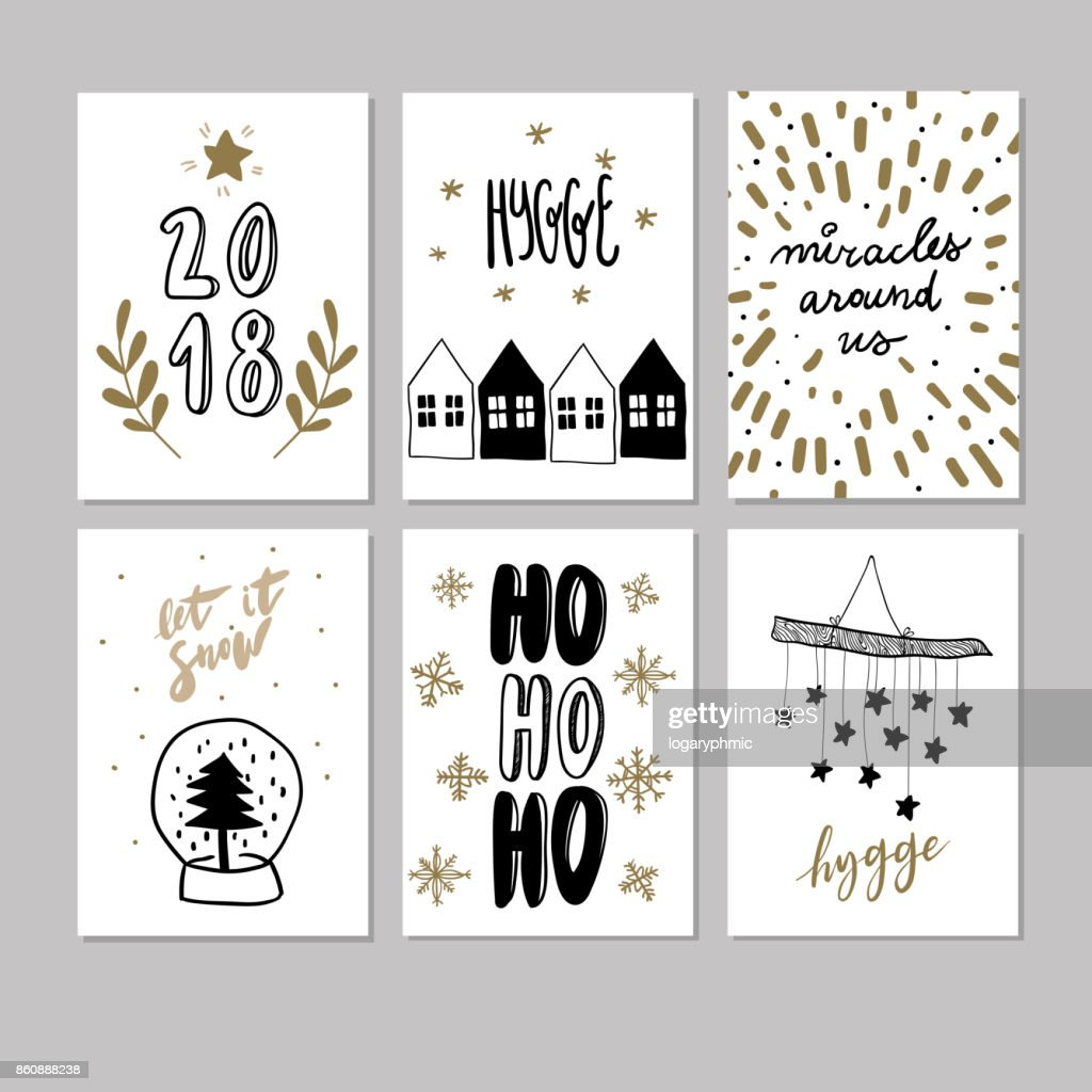Set Of Doodle Christmas Greeting Cards Vector Hand Drawn Cute Icons