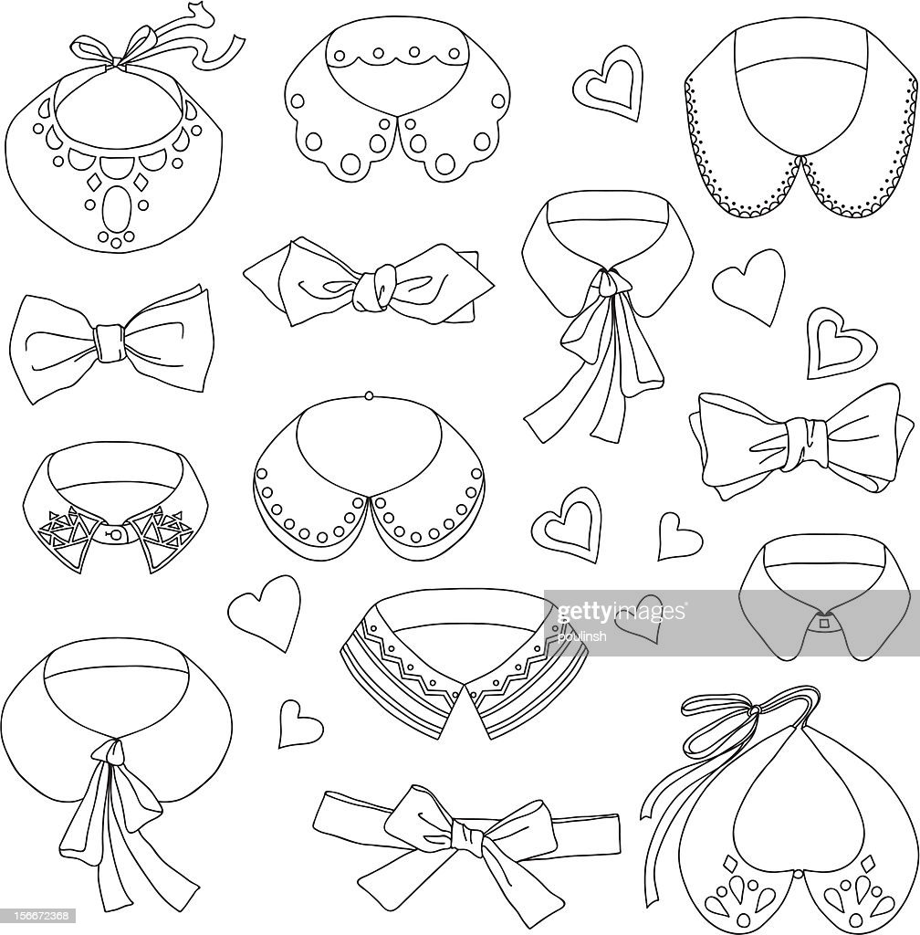 Set of doodle collars, necklaces, bows and hearts