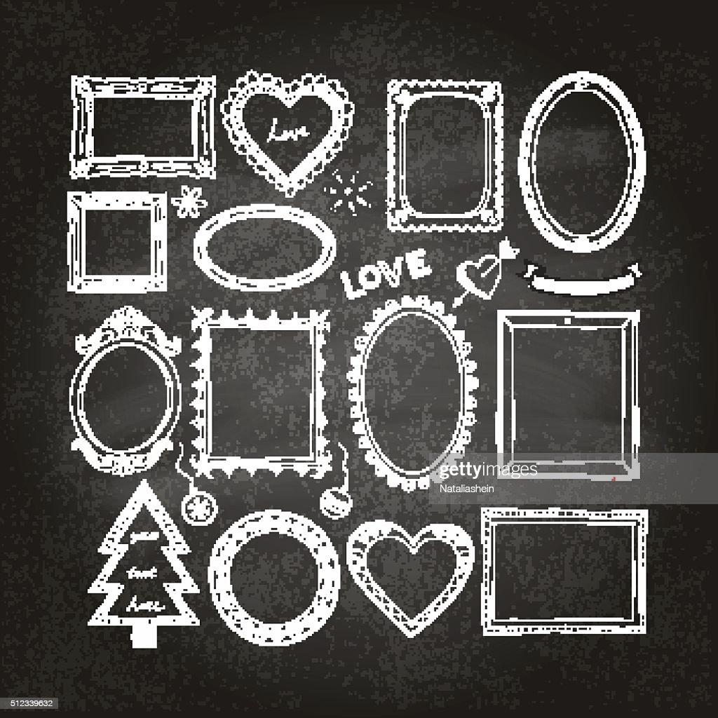 Set of doodle frames on a chalkboard background.