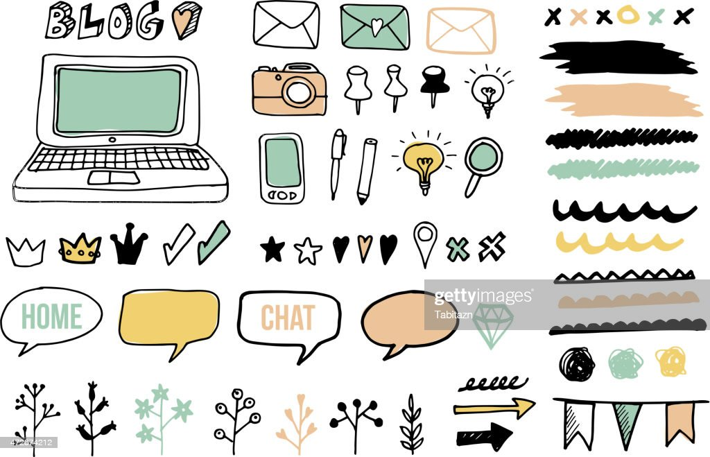 Set of doodle graphic elements for blog, graphic projects, vectors