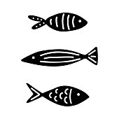 Set of doodle hand drawn fish. Black and white vector illustration