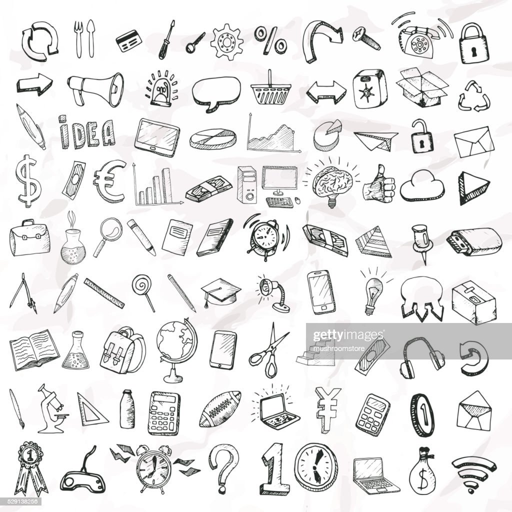 Set of doodle icons.