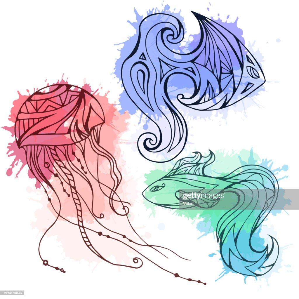Set of doodle marine fish and jellyfish, decorated boho pattern