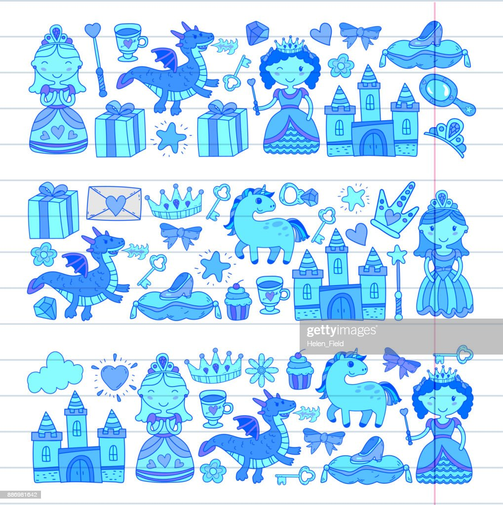 Set Of Doodle Princess And Fantasy Icon And And Design Element For ...