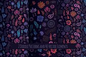 Set of doodle seamless pattern and elements