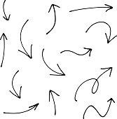Set of Doodle Sketch arrows, pointers.