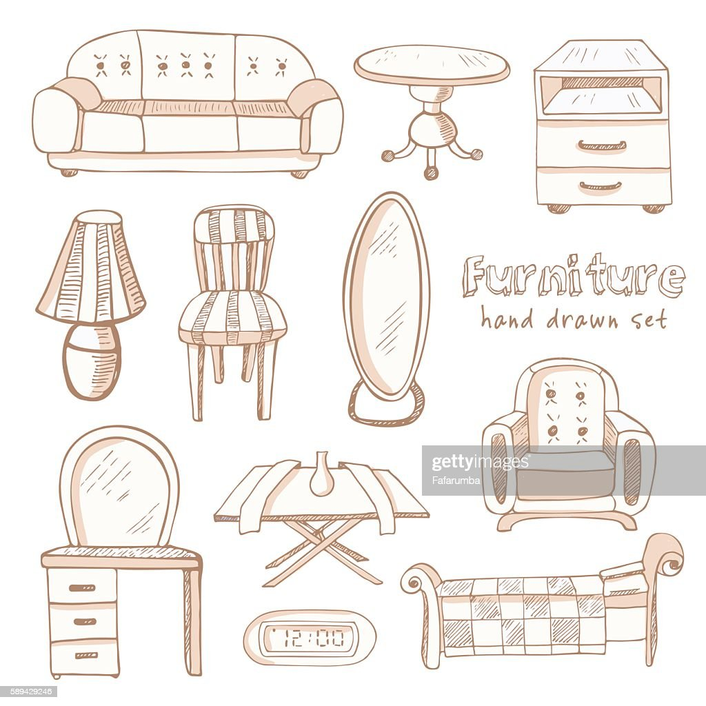 Set of doodle sketch furniture