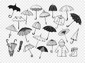 Set of doodle sketch umbrellas