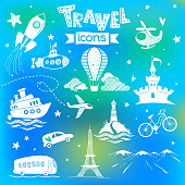 Set of doodle travel icons
