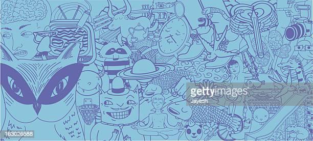 Set of Doodles Background