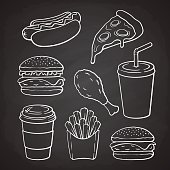 Set of doodles of fast food