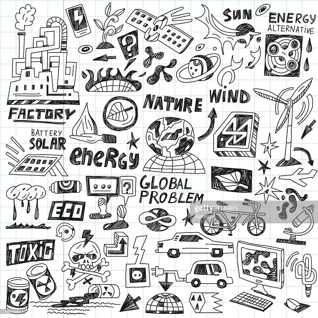 Set of doodles relating to ecology and technology