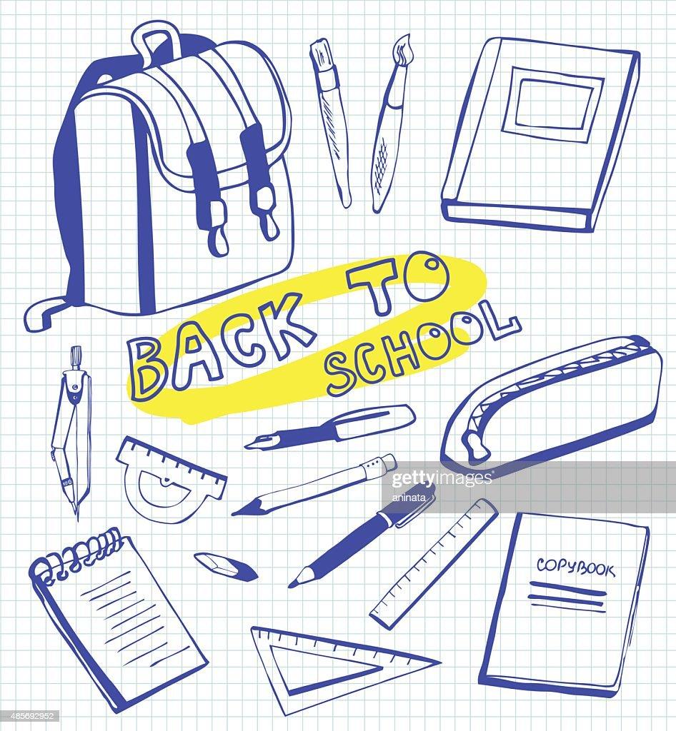 Set of doodles School supplies