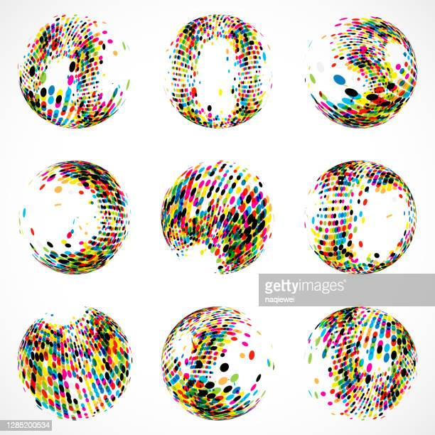 set of dots sphere pattern icon for design - animated zebra stock illustrations