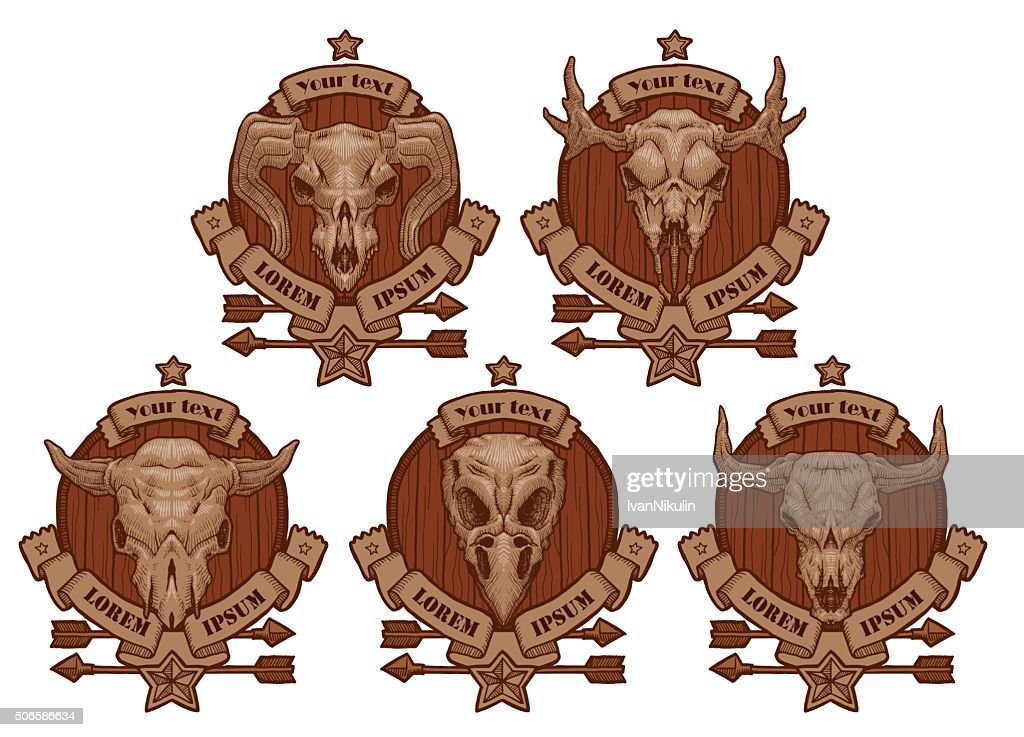Set of drawing emblems with animal's skulls.