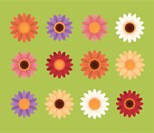 Set of drawings of colorful daisies