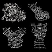 Set of drawings of engines - motor vehicle internal combustion engine, motorcycle, electric motor and a rocket. It can be used to illustrate ideas of science, engineering design and high-tech