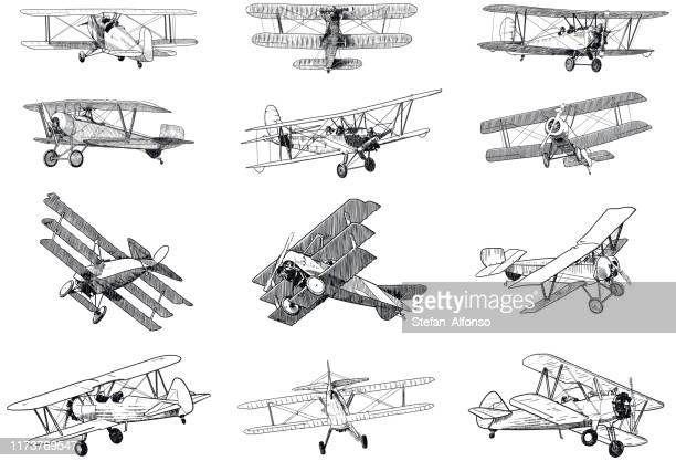 set of drawings of old planes on white background. traditional style vector illustrations of vintage aircraft - airplane stock illustrations