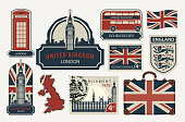 set of drawings on the theme of Great Britain