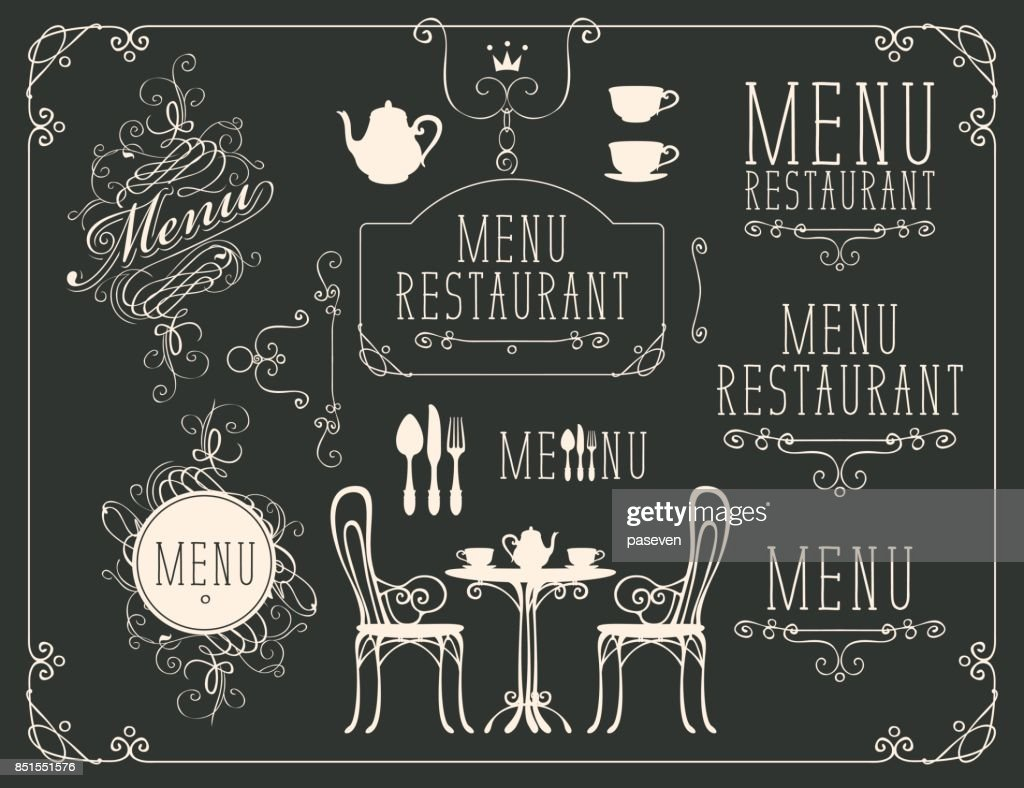set of drawings on the theme of restaurant menu