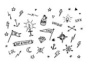 Set of drawn old school tattoo elements. Black and white