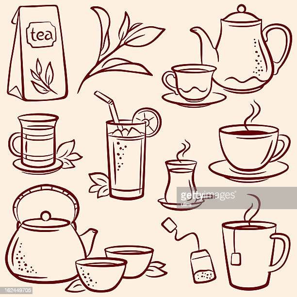 Set of drawn tea-related illustrations over beige background