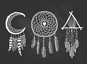 Set of Dreamcatchers. Design elements in Boho style. Lineart. Native style on the chalkboard. Tattoo design. Pattern for coloring book. Print for T-shirt.