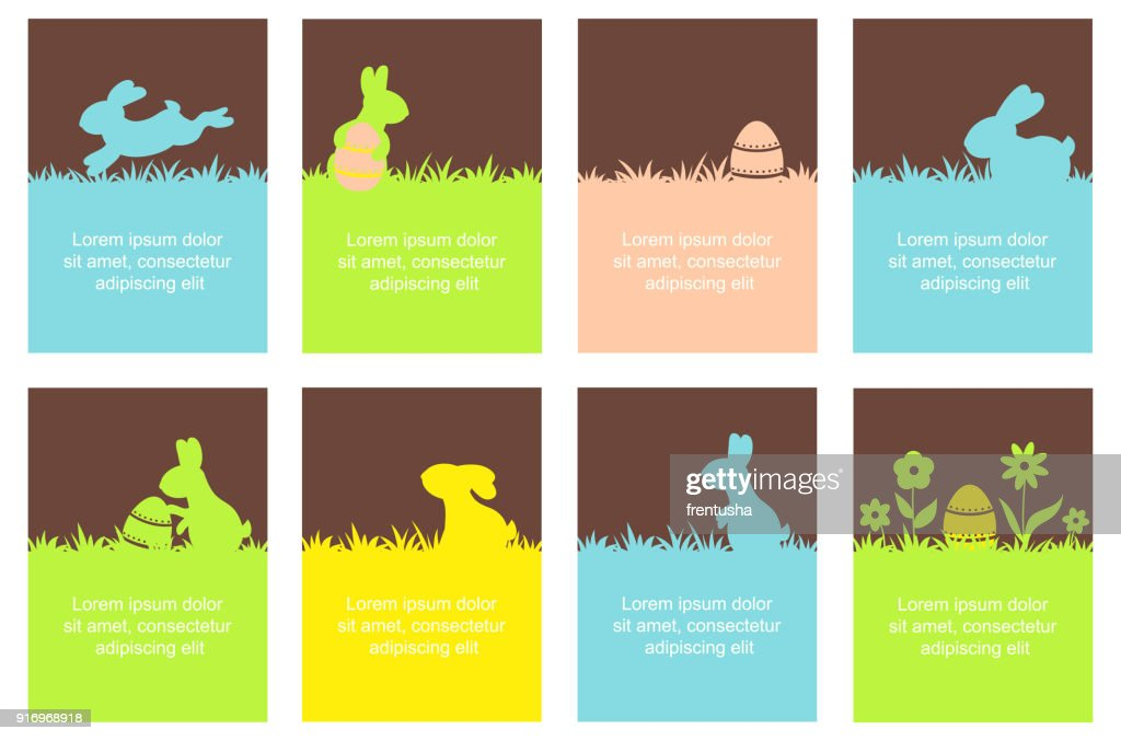 Set of Easter banner with cute rabbits