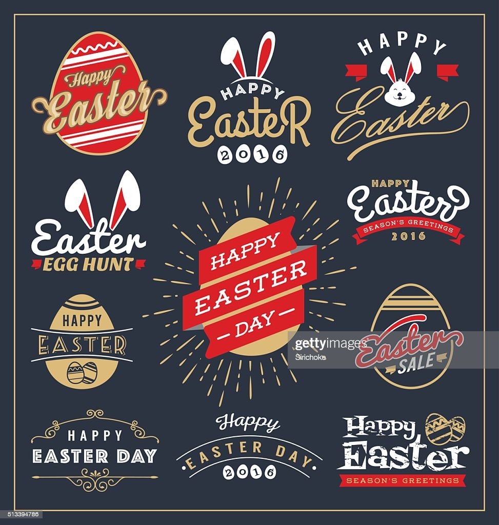 Set of Easter day typography badge and labels