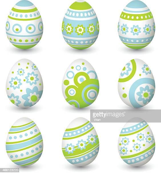 set of easter eggs. vector illustration - easter egg stock illustrations, clip art, cartoons, & icons