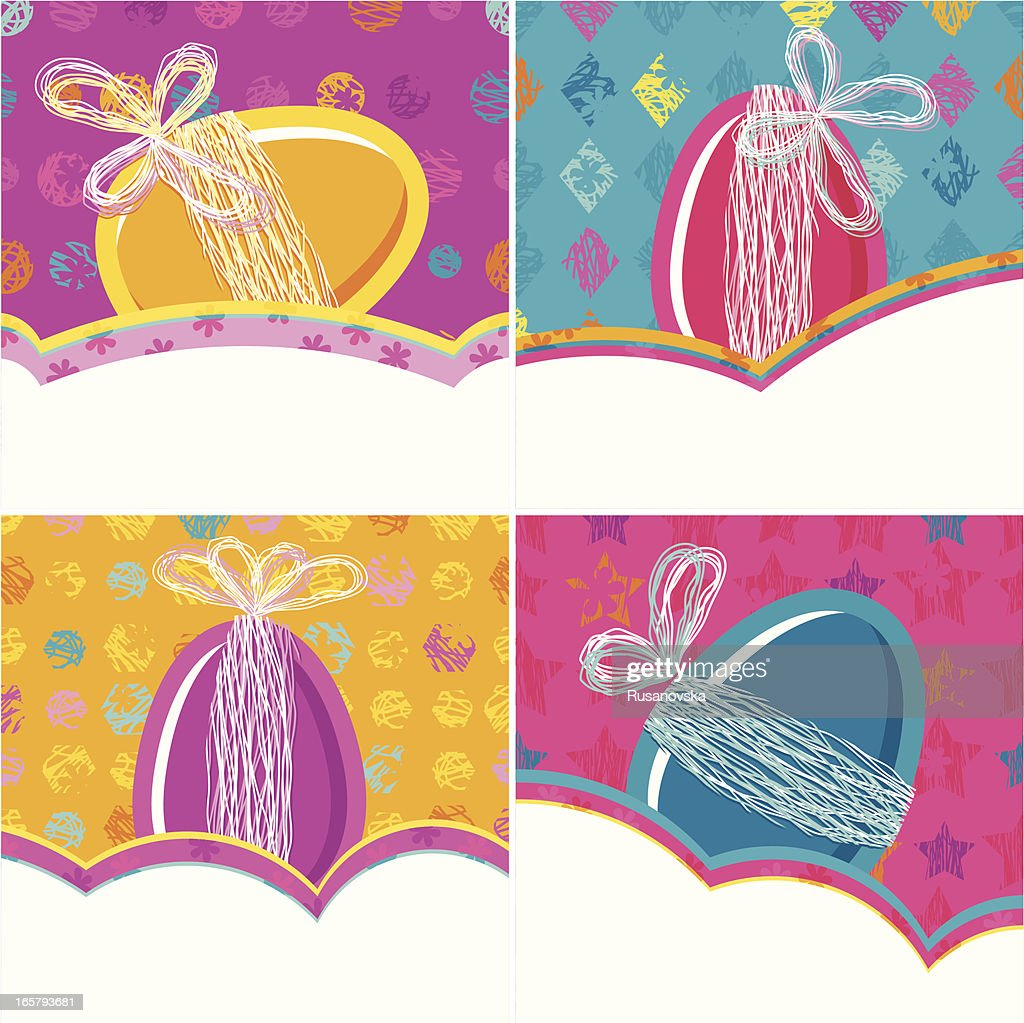 Set Of Easter Greeting Cards Vector Art Getty Images