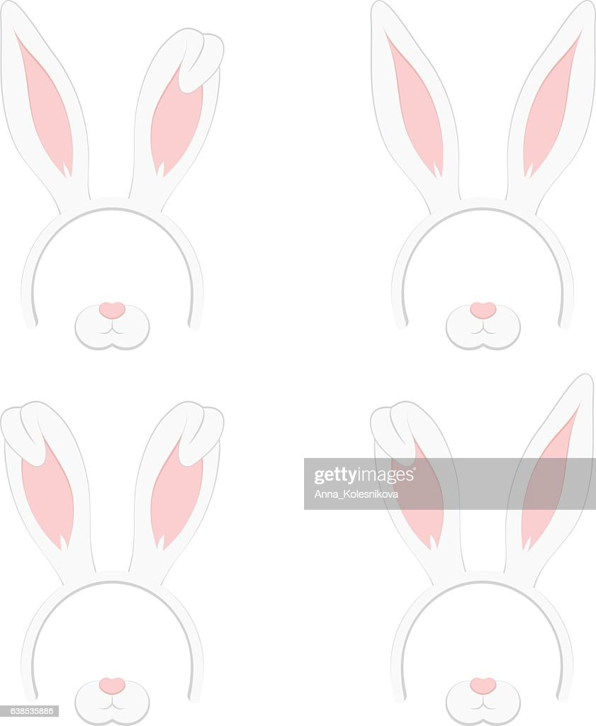 Set of Easter mask with rabbit ears isolated