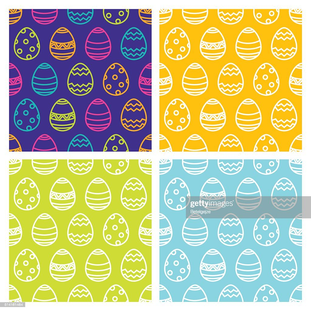 Set of Easter seamless pattern with linear multicolor eggs.