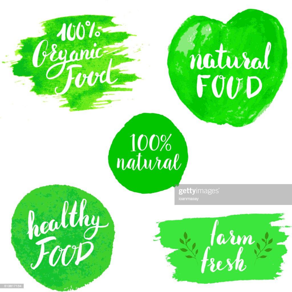 Set of Eco healthy Food labels.