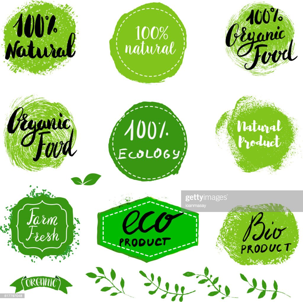 Set of Eco healthy Food labels.
