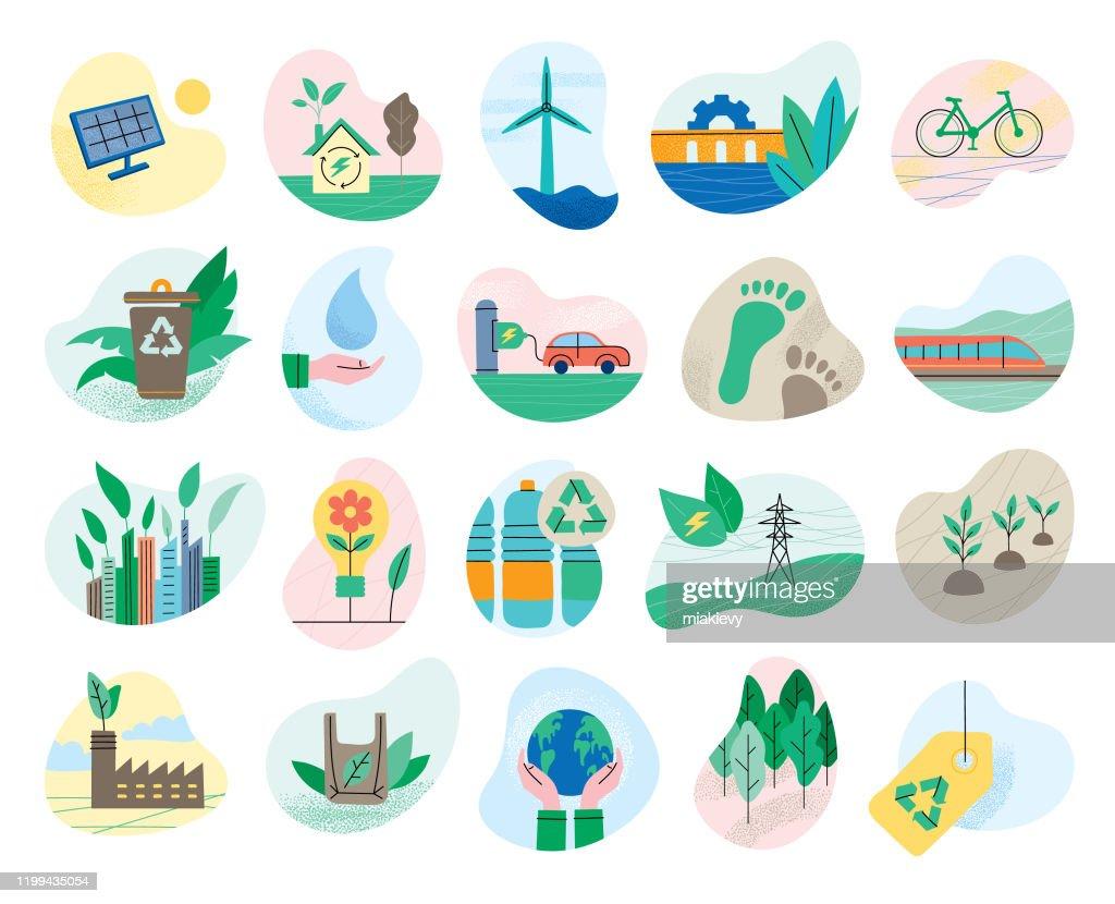 Uppsättning ekologiska symboler : Illustrationer
