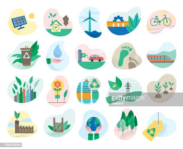 set of ecology symbols - environmental issues stock illustrations