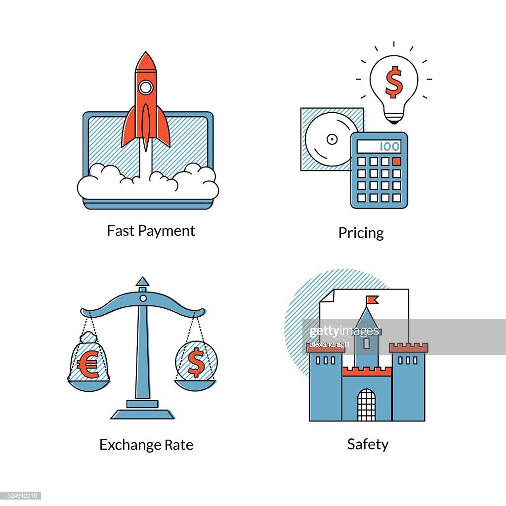 Set of Ecommerce line icons, fast payment, pricing. safety, rating.
