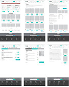 Set of ecommerce website templates. Homepage, category, product detail, shopping cart, article - modern vector flat design layouts
