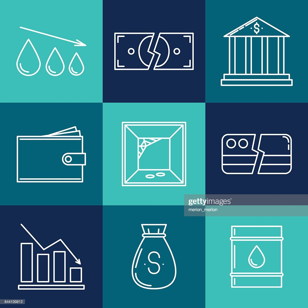 Ein Set Von Wirtschaft Crysis Symbole Stock Illustration Getty Images