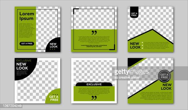 set of editable square banner template. black and green background color with stripe line shape. suitable for social media post and web internet ads. vector illustration with photo college - auto post production filter stock illustrations