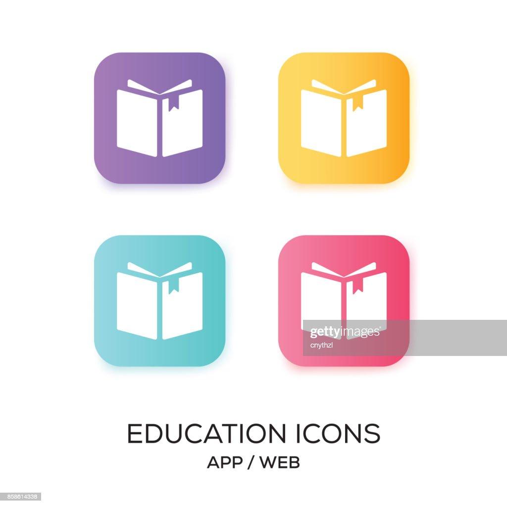 Satz von Bildung-App-Symbol : Stock-Illustration