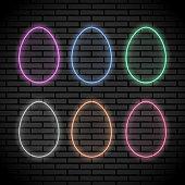 Set of egg shaped neon lights