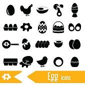 set of egg theme black icons eps10