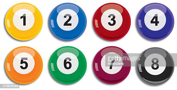 set of eight billiard balls - pool ball stock illustrations, clip art, cartoons, & icons
