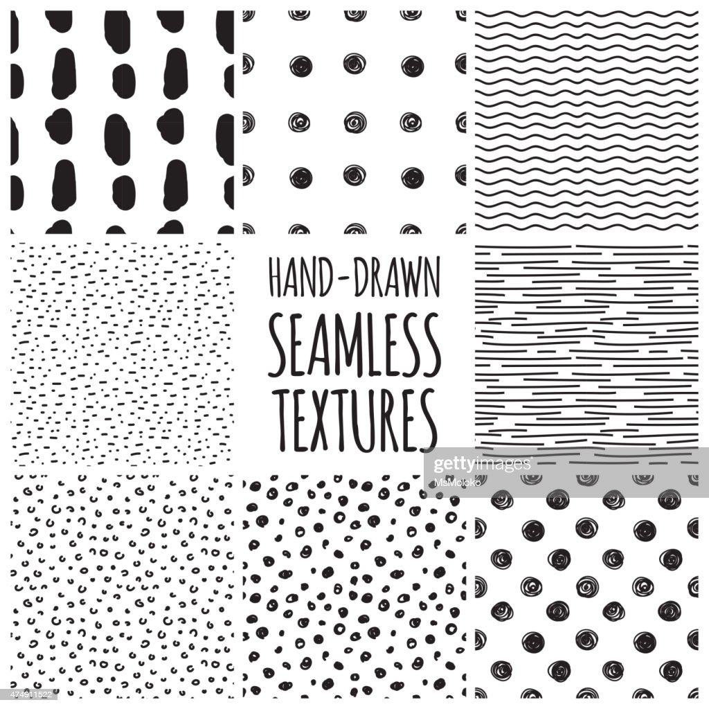 Set of eight black and white seamless hand drawn textures