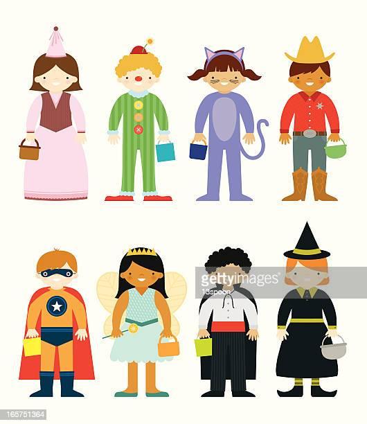 Set of eight cartoons in Halloween costumes